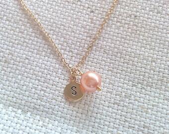 Initial pearl necklace, initial necklace, initial charm, pearl charm necklace, gold charm necklace, charm necklace, cute necklace