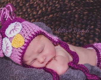 Adorable Fuscia Sleepy Owl Crochet  Hat,  Cute Earflap hat w/ Curly tails  Photo Prop Beanie, Made to Order