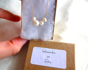 Handmade Freshwater Pearl & 925 Sterling Silver Chain 14k Gold Fill Unique Necklace; Gift for Her; Gift for Mom; Bridesmaids Wedding Jewelry