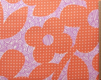 Erin McMorris fabric Weekends Dot & Loop EM25 Peach orange purple polka dot floral 100% Cotton Fabric Quilting fabric by the yard freespirit