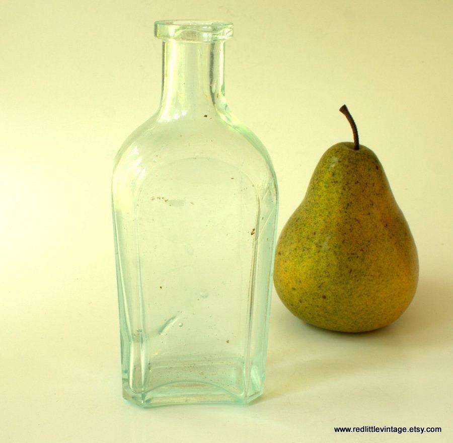 Clear glass bottle small glass bottle vintage glass bottle for Small colored glass jars