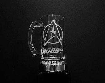 Star Trek Mug - Personalized Star Fleet Mug - Etched Star Fleet Command Mug - Star Trek Glass, Etched Star Trek Mug, Star Trek Gift