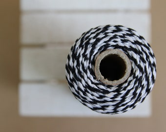 BLACK Baker's twine - full spool of 110 yards - 100M - Black & white - BT14