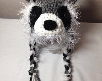 Crochet ANY size NB through adult Racoon earflap hat photography prop