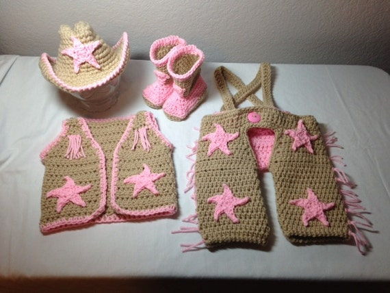 Free Crochet Pattern Cowboy Vest : Crochet cowgirl outfit NB through 6 months by ...