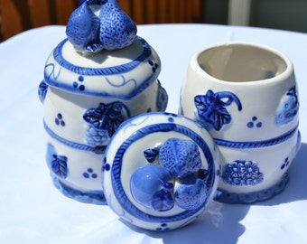 Sale:  Pair of Blue and White Ceramic Fruit/Floral Jars