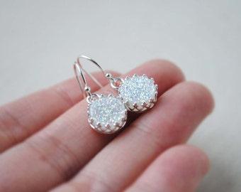 Druzy Earrings, White Druzy Earrings, Sterling Silver Druzy Earrings, Round Druzy Earrings