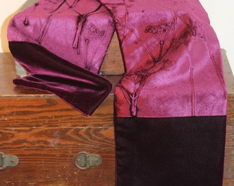 Embossed Velvet Aubergine plum Scarf Botanical Foliage Cow Parsley Design