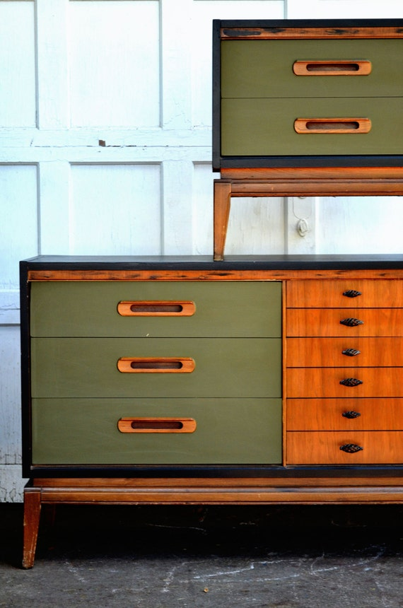 Midcentury Replica Hand Painted Dresser And Bedside Table
