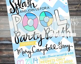 INVITATION Printable Pool Party Bash Invitation, Pool Party Invitation