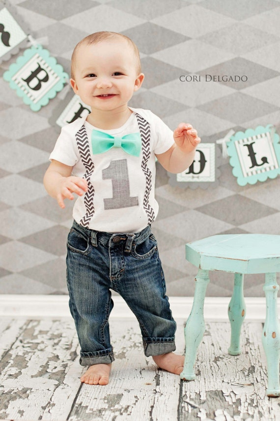 Boys First Birthday Outfit - Baby Boy Clothes - Gray Suspenders Aqua Red or Gray Bow Tie - First Birthday Boy Shirt Birthday Boy Outfit. Find this Pin and more on Baby Birthday by Erin Guyer. this is also super cute for Reid, but not with the bow tie - they get heavy and hang down.