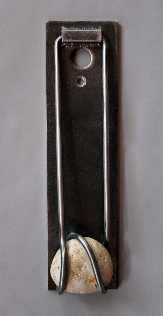 Door knocker with a peephole metal stone unique handmade - Door knocker with peep hole ...