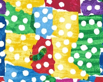 Caterpillar Crawl Fabric,  Colored Square - Very Hungry Caterpillar by Eric Carle for Andover Fabrics 5283 M - Priced by the half yard