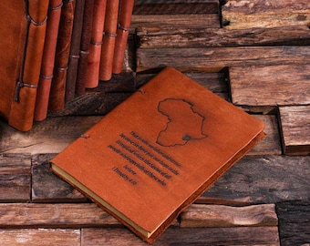 Personalized Monogrammed Engraved Notebook Leather Travel Diary Sketchbook Journal Africa Map Graphics (024205)