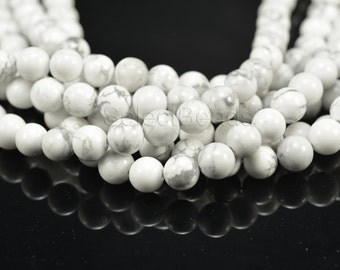 howlite white beads - white stone beads - white gemstone bead -  grey and white beads - semi precious stones - round beads 4-14mm - 15 inch