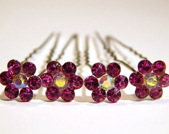 Set Of 2 Fuschia Rhinestone Hairpins - Bridal Accessories