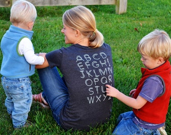 Alphabet Tracing Shirt - WOMEN'S: Chalkboard Inspired, Kids Trace Letters, Back Tickle for Mom, Christmas/Mother's Day/Birthday/Teacher Gift
