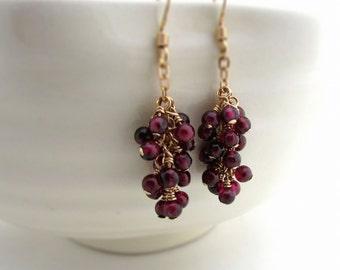 Garnet cluster earrings, January birthstone, burgundy garnet earrings, gold filled bohemian jewelry, garnet jewelry, red gemstone earrings