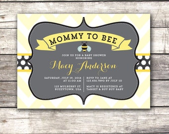 Bumble Bee Baby Shower Invitation Mommy to Bee Invite Printable