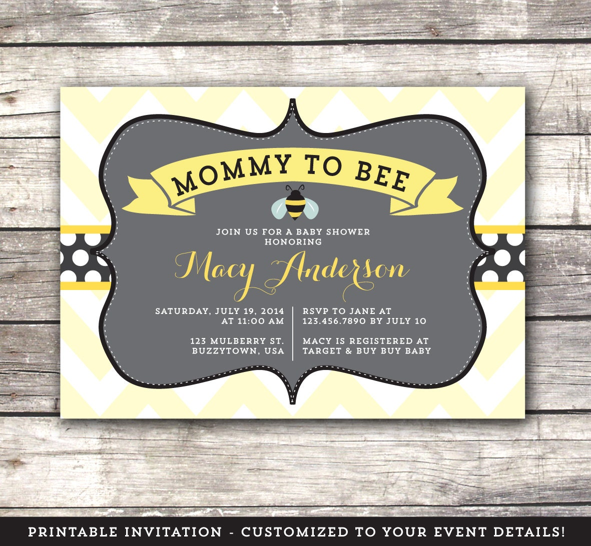 bumble bee baby shower invitation mommy to bee invite