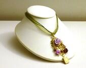Secret Garden- Floral Assemblage Pendant on Organza Ribbon Necklace