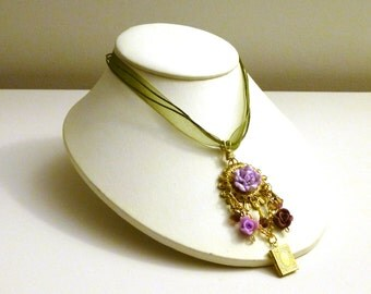 Secret Garden- Floral Assemblage Pendant on Organza Ribbon Necklace