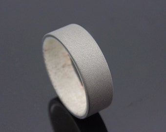 Antler and Titanium ring  Mens titanium wedding band blasted finish