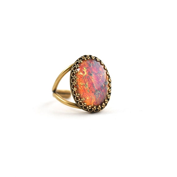 Items Similar To Opal Ring Exquisite Braided Opal: Items Similar To Orange Pink Opal Ring Vintage Fire Opal