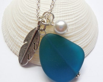 Teal Sea Glass Necklace, Charm necklace, Pearl, Feather Necklace, bridesmaid necklace, beach wedding.  FREE SHIPPING within the U.S.