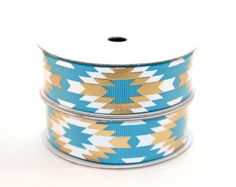 "7/8"" Turquoise White/Gold Fashion Aztec Grosgrain Ribbon"