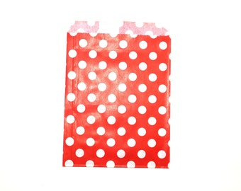 """25 Red Dots Favor Bags - 5"""" x 7"""" Wedding Treat Bags, Paper Bags"""