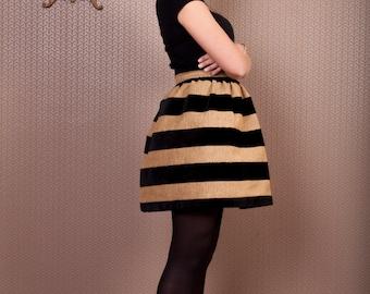High waist velvet striped puffy skirt, black velvet stripes skirt, puffy skirt