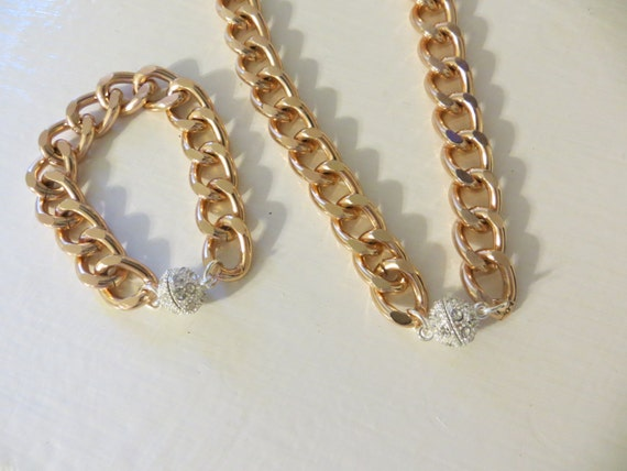Items Similar To Thick Chunky Rose Gold Chain Necklace And