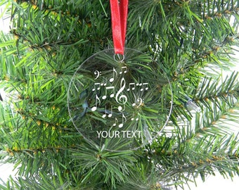 Personalized Custom Music Notes Clear Acrylic Christmas Tree Ornament