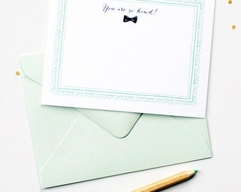 Thank You Notes | Vintage-inspired Watercolor Bow Tie Thank You Note Cards