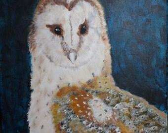 Giclee PRINT 5x7 Barn Owl Painting Acrylic Bird Animal Art Minimalist Nature Wildlife Birds of Prey