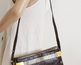 Umberto Firenze, Weaved Leather Purse ,Shoulder Bag, green leather, brown leather,bags,purses