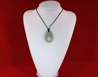 Speckled necklace pendant ceramic powder blue