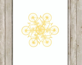8x10 Bicycle Circle Art Print, Modern Printable, Gold Art, Office Decor, Nursery Art, Home Decor, Bike Poster, Instant Digital Download