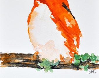 ORIGINAL Watercolor Bird Painting, Kingfisher Portrait 6x8 Inch