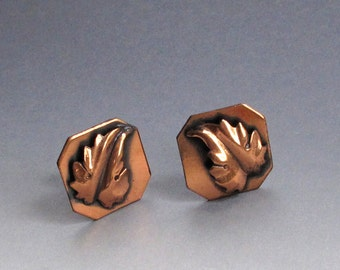 Vintage Copper Leaf Earrings with Screw Back