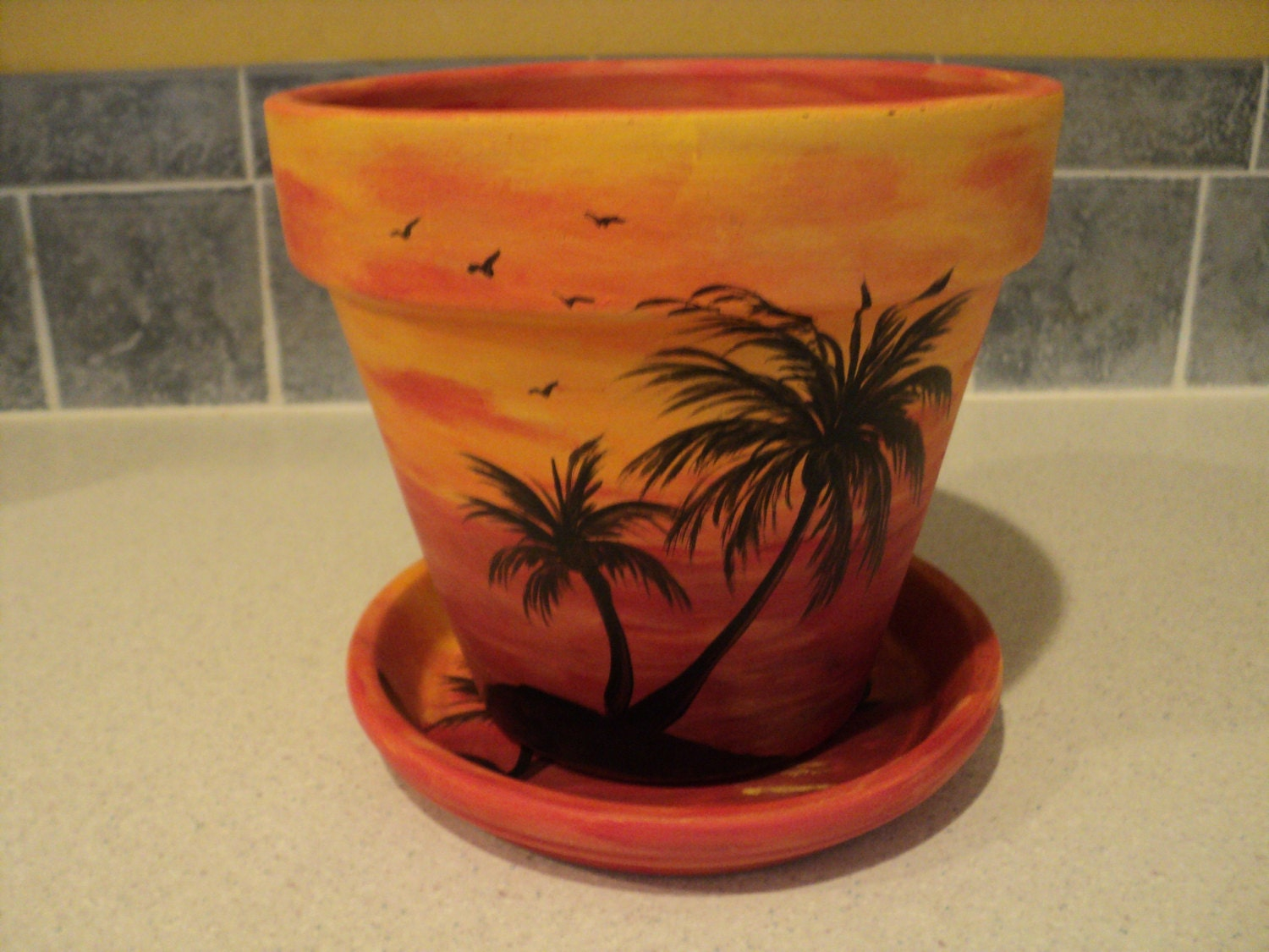 Hand painted flower pot saucer 6 1 4 sunset by for Flower pots design images