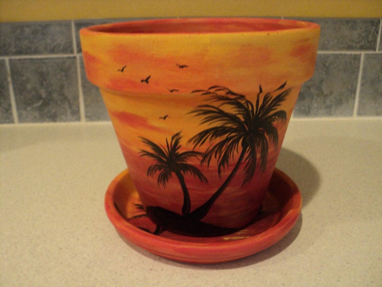 hand painted flower pot saucer 6 1 4 sunset by. Black Bedroom Furniture Sets. Home Design Ideas