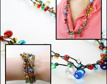 Jewelry Set, Necklace and Bracelet Set - Colorful Bubble Beads - Handmade Jewelry. JS4007