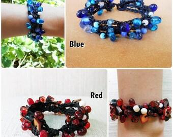 Bubble beaded Bracelet, Wax String Bracelet Jewelry Thailand Handmade. (JB1008)
