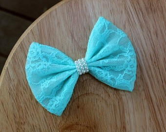 """4.5"""" Blue lace hair bow, pastel blue lace bow, blue lace hairbow, lace bow hair clip, blue hair bow, mint blue, wedding bow, pearls bow"""