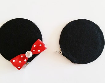 Minnie Mouse Ears Hair Clips, Minnie Costume Accessory, Minnie Hair bows