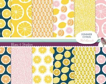 Summer Citrus Digital Paper: 12 Printable Pages of Lemon, Grapefruit and Tangerine Patterns