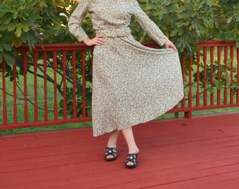 Vintage Dress, 80's Dress, 50's Style Maxi Dress,Green Long Dress,Wide Belt Dress