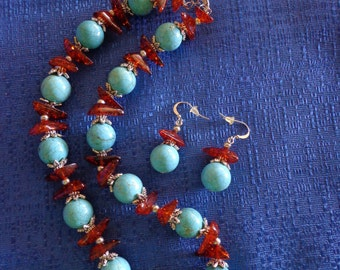 Turquoise Magnesite and Amber Necklace with Matching Earrings